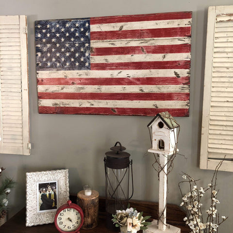 Original Acrylic Painting. RUSTIC AMERICAN FLAG - Gin's Den