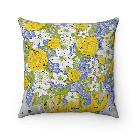 Pillow. Yellow and Periwinkle Spun Polyester Square Pillow - Gin's Den