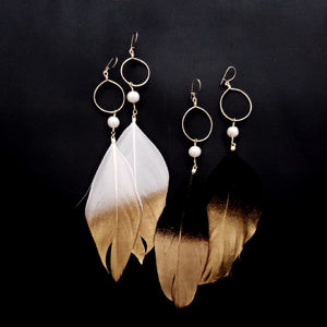 Pearl and feather earrings -Limited-