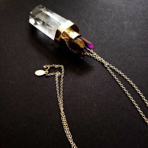 Crystal quartz purple crown necklace