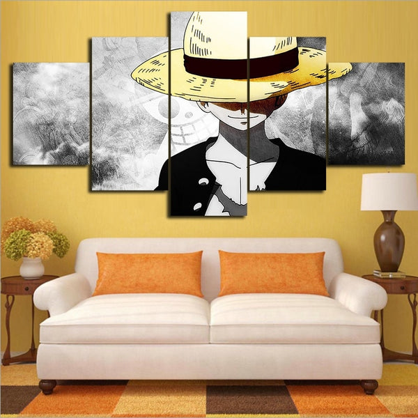 Monkey D Luffy Solo 5pc - One Piece Canvas Printed Wall Poster - Anime Printed