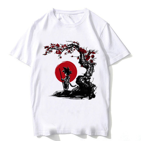 Chibi Goku Sakura Tree - Dragon Ball T-Shirt - Anime Printed
