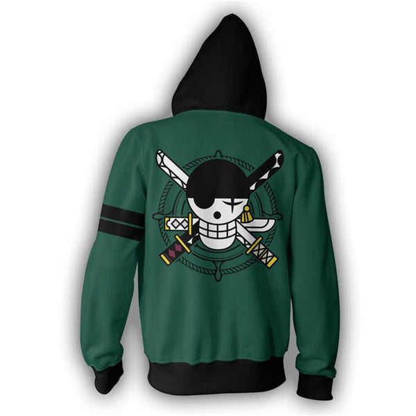 Zoro Roronoa Pirates Symbol - One Piece Zipper Hoodie - Anime Printed