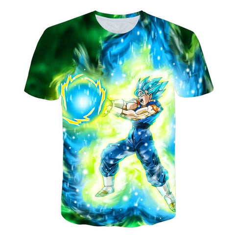 Vegito SSJ Blue Attacks - Dragon Ball T-Shirt - Anime Printed