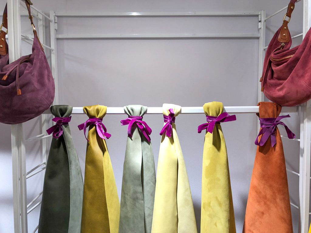 Hanging suede display at Lineapelle.