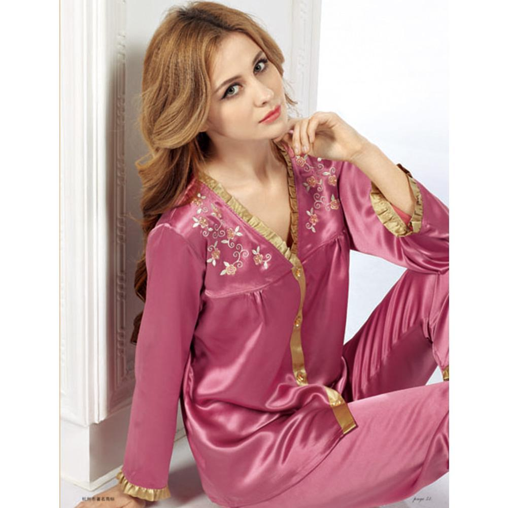 High end 19 Momme V Neck with Embroidery Silk Pajamas Set | Women| TAIHU SNOW