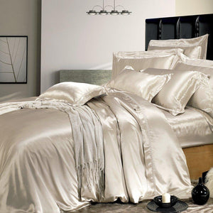High end 19 Momme Mulberry Silk Sheets Bedding Sets Duvet Cover Set (4 Piece) | Vanilla