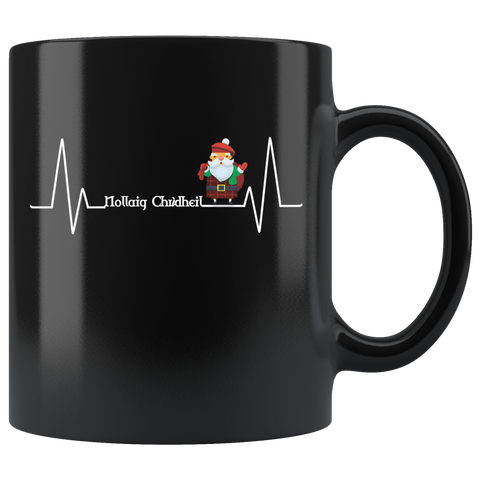 Image of Nollaig Chridheil - Heartbeat Black Mug | Special Custom Design