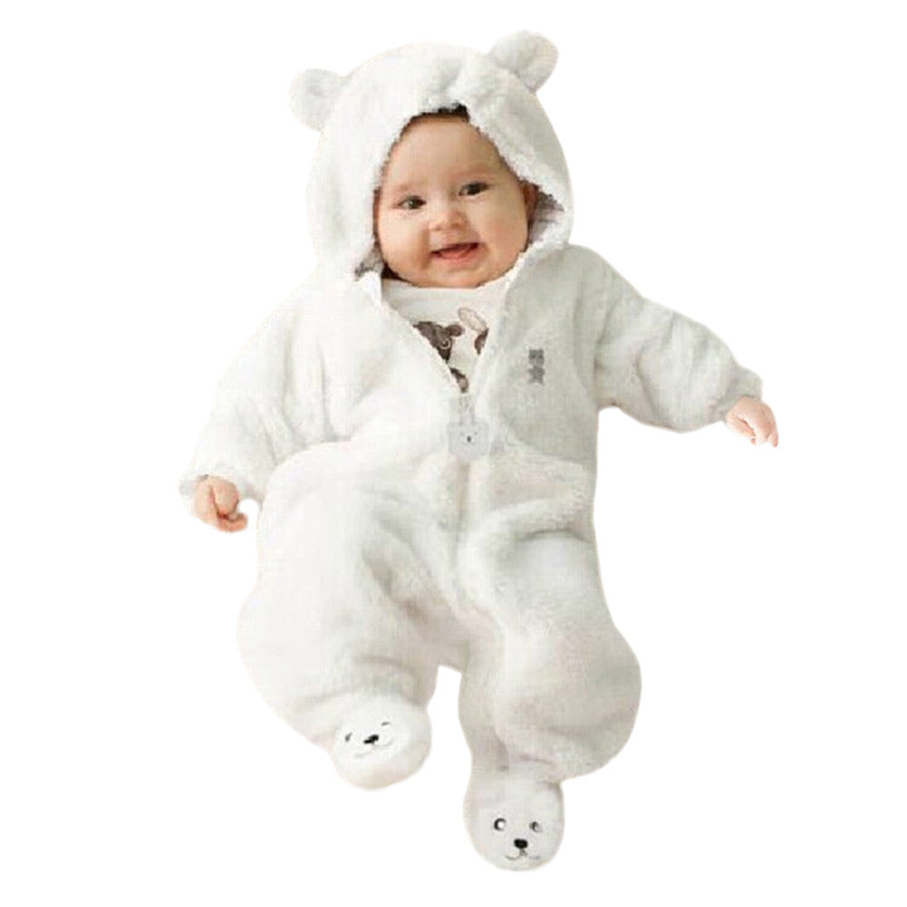2017 Autumn Winter Baby Rompers Bear style baby coral fleece Hoodies Jumpsuit baby girls boys romper newborn toddle clothing