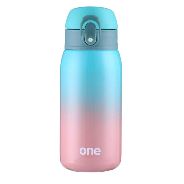 Gradient Color Baby Feeding Cup Stainless Steel  Milk Thermos for Children Insulated hot water Bottle leak-poof thermal Cup