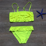 7-16years children swimwear falbala girls swimwear baby kids biquini infantil swimsuit bikini girl 2018 New summer bathing suit