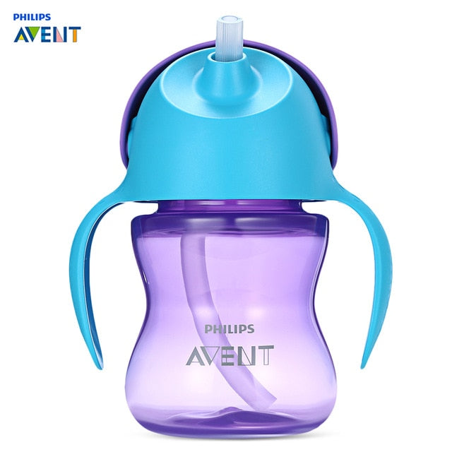 Philips Avent 7oz / 200ml Baby Soft Handle Straw Bottle Training Drinking Cup Heat Resistant Temperature Bottlees Feeding Gifts