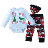 Newborn Baby Boy Girl Christmas Clothes Snowflake Deer Romper Pants Hat Outfits Set Christmas Baby Clothing