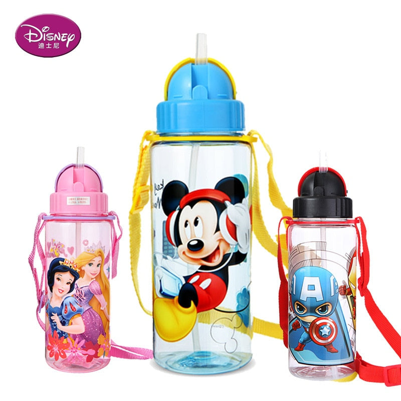 Disney 510 ML Minnie Mickey Mouse Non-spillable mug bottle Feeding Cup with straw Cartoon Sofia snow White Sports  water Bottle