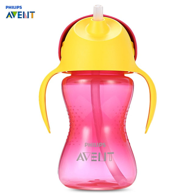 Philips Avent 10oz 300ml Baby Soft Handle Straw Bottle Training Drinking Cup Dentist Recommended Non-Slip Shape Bottle Feeding