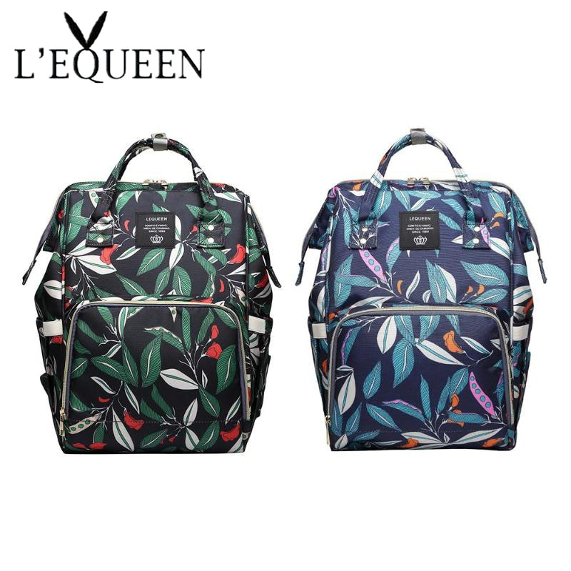 Fashion Mummy Maternity Napyy Bag baby Diaper Bags fresh Leaf Print Large Capacity Travel Backpack Nursing Bag Baby Care