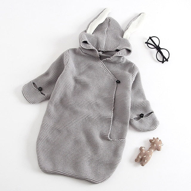 Bear Leader  Sleepwear & Robes Autumn New Romper Bunny Ears Knitted Baby Sleeping Bag Stereo Newborn Baby Clothes Baby Romper
