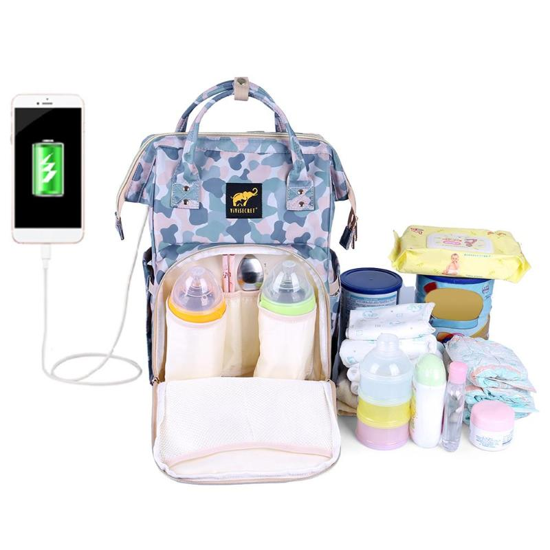USB Charging Fashion Mummy Diaper Bag Maternity Nappy Bag Large Waterproof Travel Backpack Baby Stroller Nappy Nursing Organizer