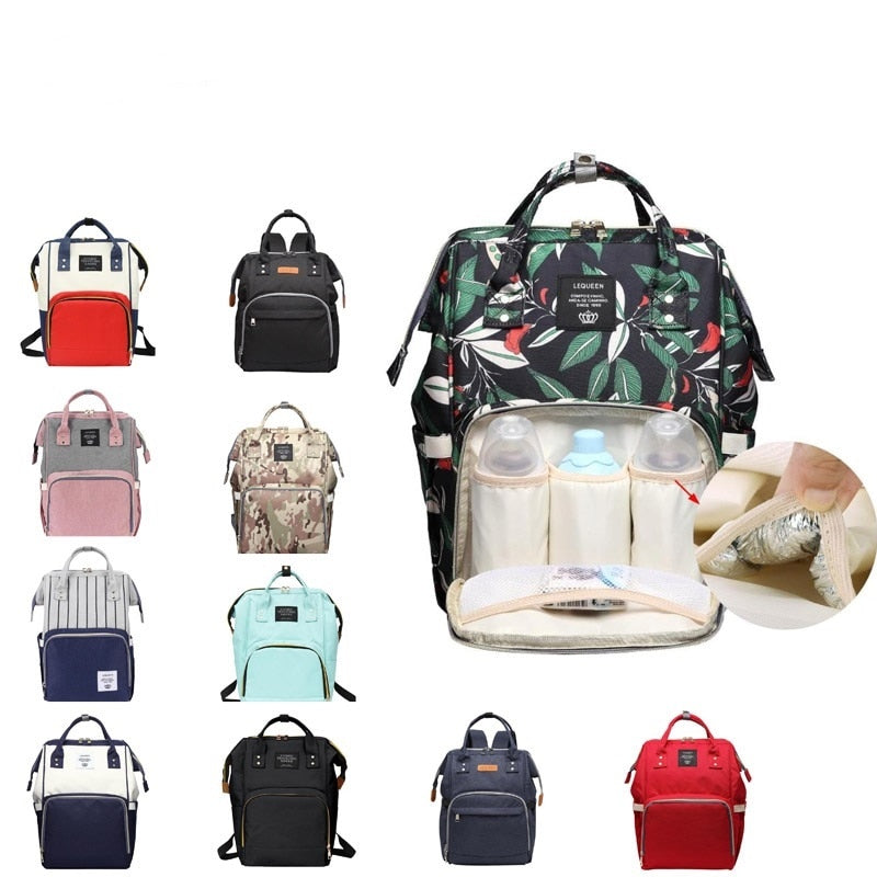 Lequeen Maternity Nappy Diaper Baby Mom Bag Mummy Maternity Bag Fashion Mummy Striped Multifunctional Nursing Shoulder Handbags