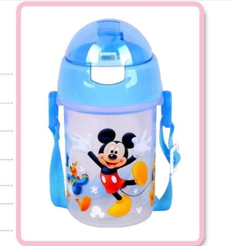 350 ML Disney Minnie Mickey Mouse cup student outdoor sports Creative straw snow White bottle portable cups