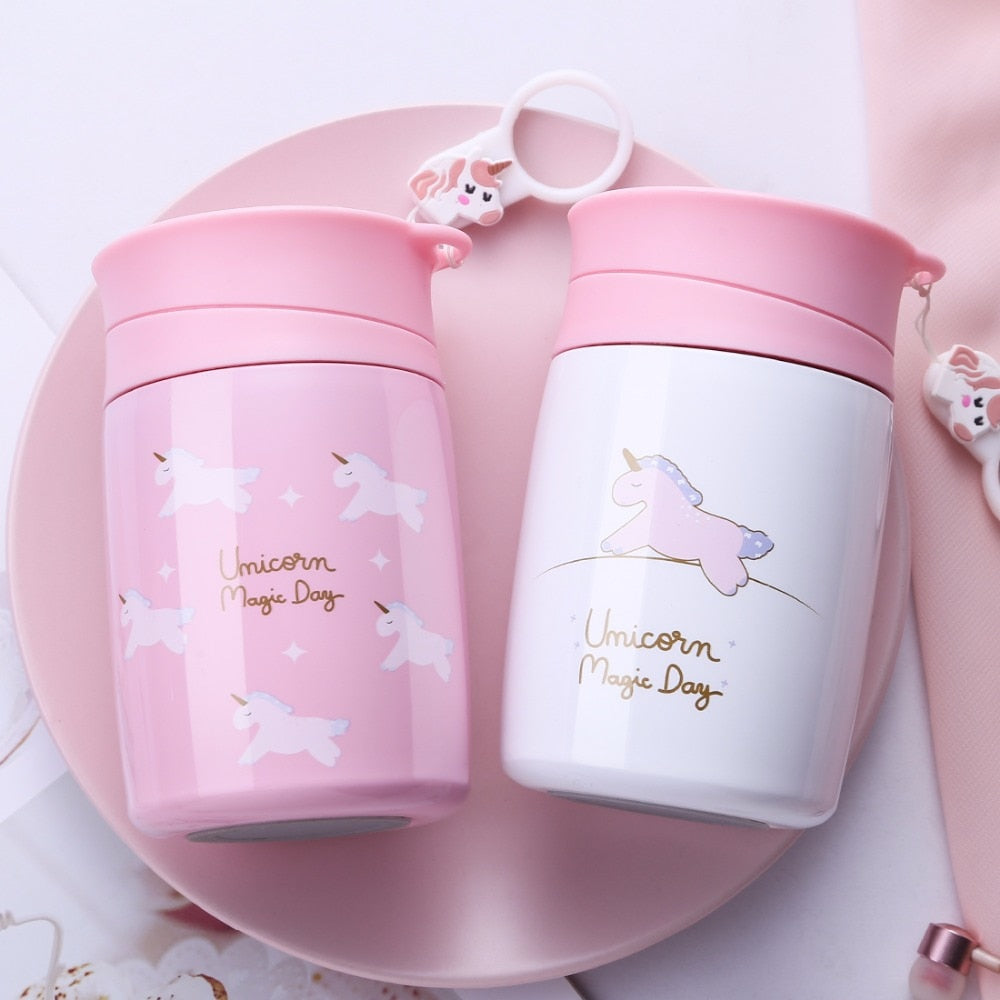 300ml Kids Baby Sweet Unicorn Thermos Bottle Girls Babies Feeding Cup Portable Vacuum Flasks Thermoses Best Christmas Gift