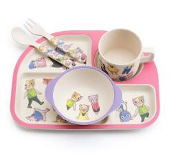 5pcs/set Bamboo Fiber Children Tableware Set Baby Dinnerware Bowl Plate Forks Spoon Cup Baby Feeding Food Container