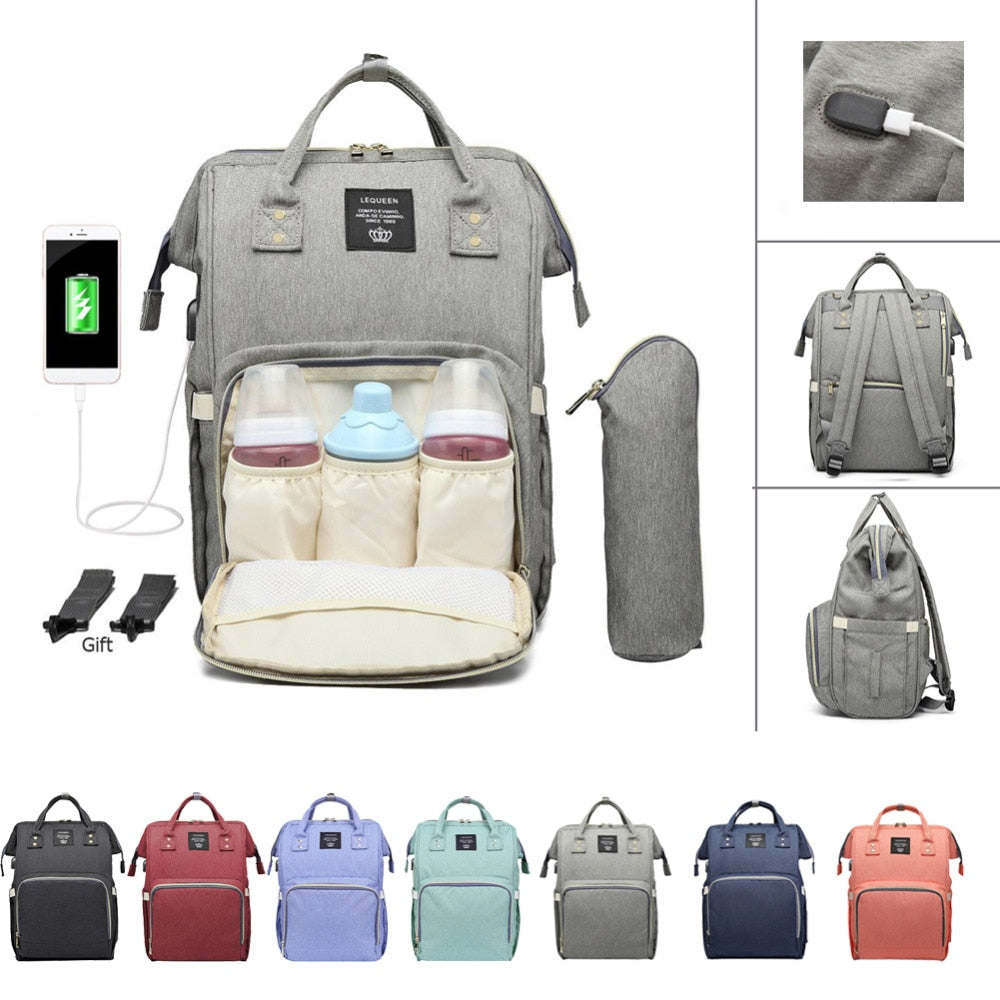 Large Capacity Mummy Bag Maternity Waterproof Diaper Bag USB Charging Nursing Travel Backpack Stroller Handbag Nappy Backpacks