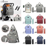 LEQUEEN Maternity Waterproof Diaper Bag USB Charging Large Capacity Mummy Nursing Backpacks Nappy Bag  Baby Care Organizer Bag
