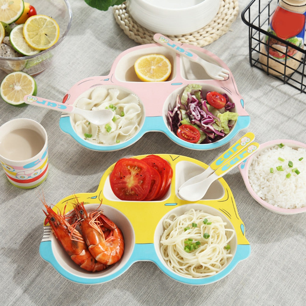 5pcs/set Baby Feeding Food Tableware Set Child Bamboo Fiber Plate Dish Bowl Fork Spoon Cup Dinnerware Set For Kids Safe Material