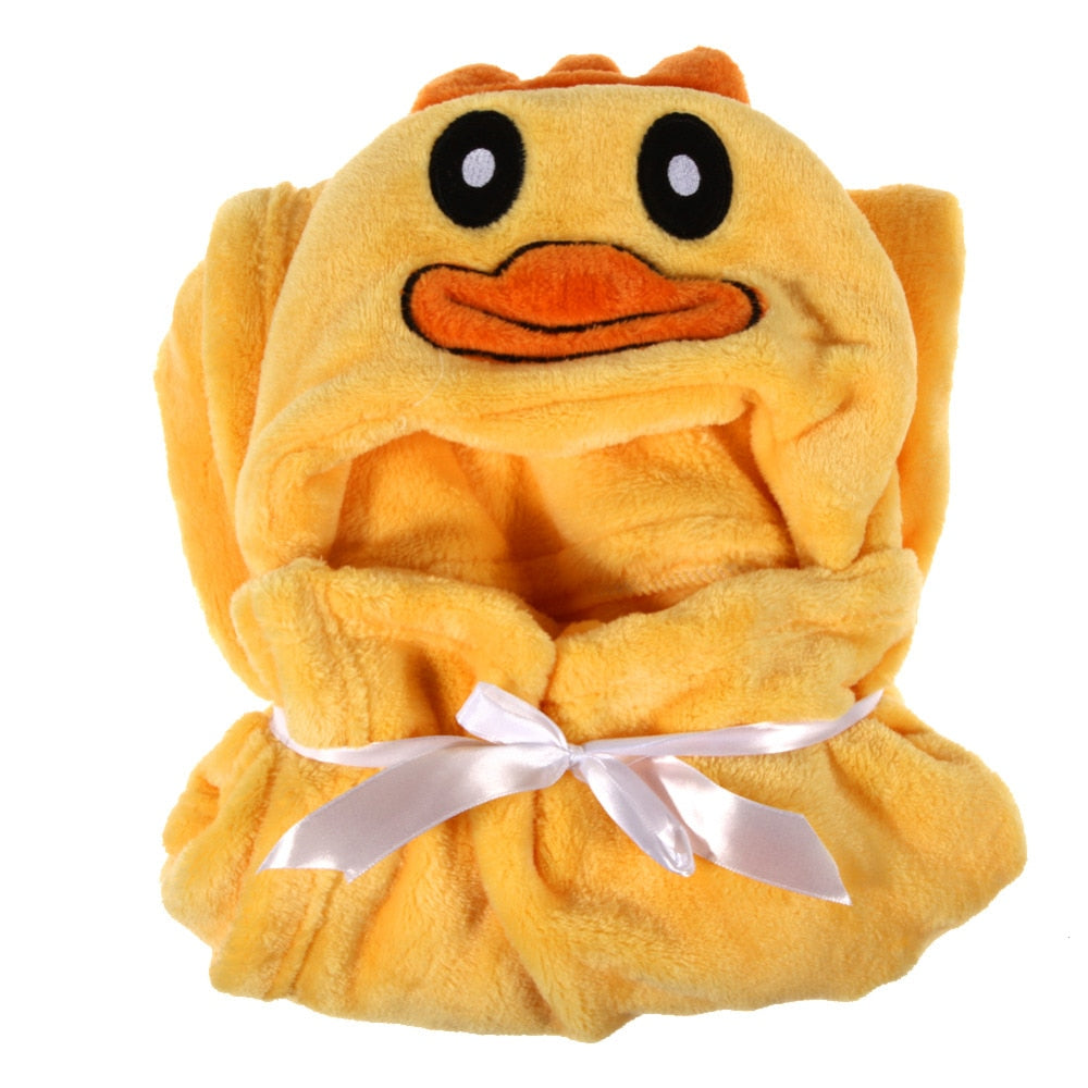 Animals Baby Bathrobe Cute Cartoon Flannel Baby Kid's Hooded Bath Towel Toddler Blanket Baby Robe