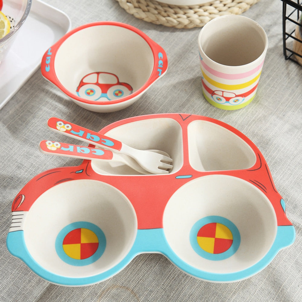 5pcs/sets Baby Dish Tableware Set Natural Bamboo Fiber Bowl With Cup Spoon Plate Fork Feeding Dishes for Kids Utensils