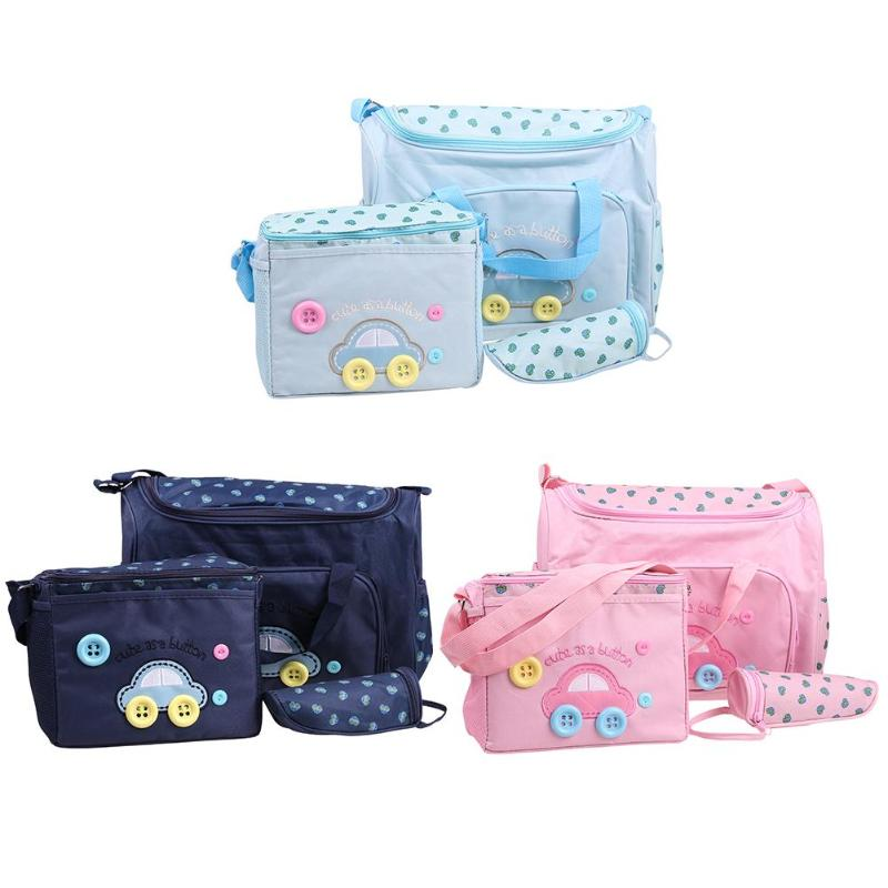 4pcs/set Mummy Maternity Nappy Bag Large Shoulder Bags Mommy Maternity Changing Mat Bottole Cover Nursing Baby Care Diaper Bag