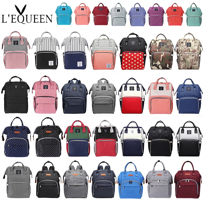 Lequeen Large Capacity Mummy Maternity Bag Diaper Baby Bag Multifunctional Nursing Bag Backpack Baby Care mom Convenient