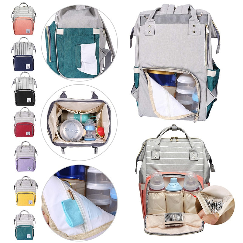 LEQUEEN 2019 Newest Baby Diaper Bag Stripe Waterproof Mummy Backpacks Large Capacity Maternity Diaper Handbag