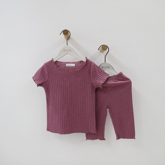 Thin Cute Baby Girls Clothes Summer Toddler Kids Knitted Rib Striped Tops+ Shorts Home Sleeping Suit Children Girl Clothing Sets
