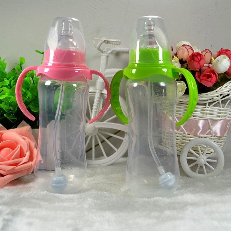 Random 240ml Baby Bottle Infant Newborn Children Learn Feeding Drinking Handle Bottle Kids Straw Water Bottles Training Cup