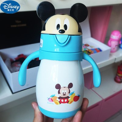 Disney Baby Stainless Steel Thermos Feeding Cup Learn Drinking Cup with Straw Thermal Bottle Leak-poof Vacuum Flask