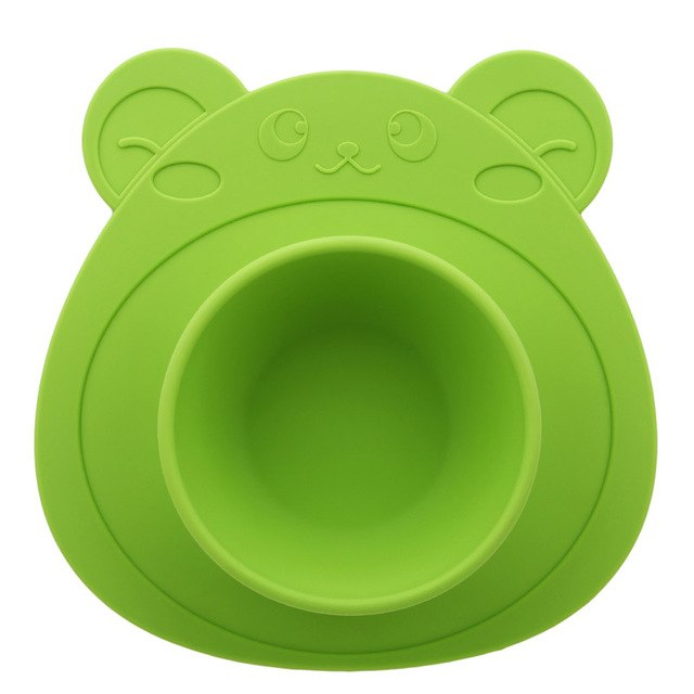Kids Children Baby Plate 100% Silicone Dishes Bowl With Suction Cup Silicone Feeding Food Plate Tray Dishes For Baby Toddler