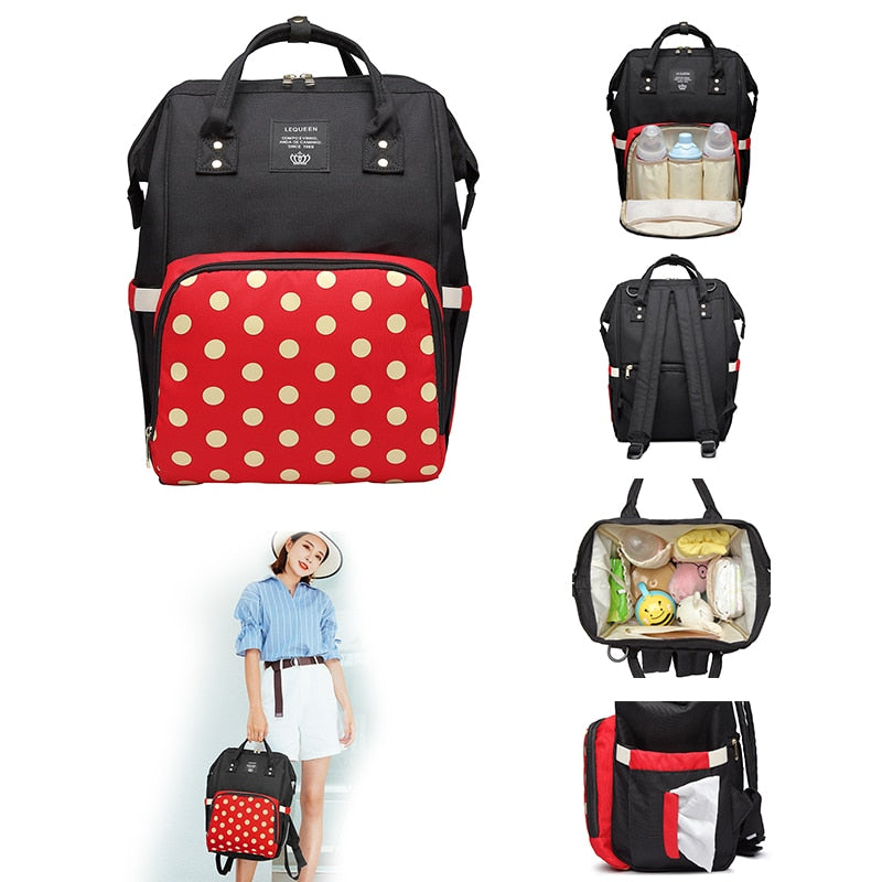 Fashion Mummy Bag Polka Dot Nursing Handbag Mummy Maternity Waterproof Diaper Bags Travel Shopping Backpack Baby Nappy Organizer