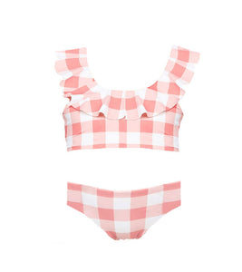 Girls Vivi Ruffle Detail Top and Brief Set in Riviera Plaid