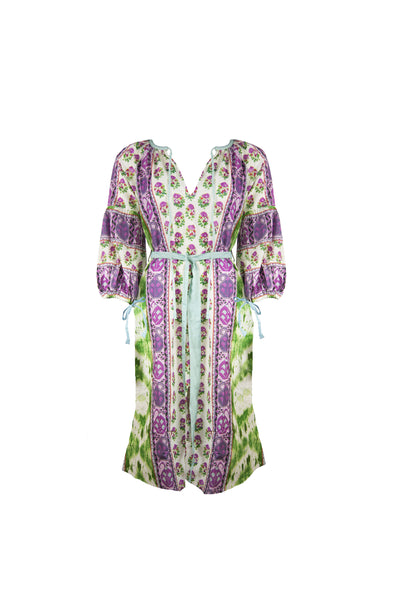 Long Sleeve Belted Caftan in Purple/Green Print