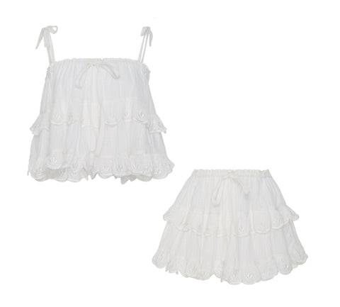 Stella 2 in 1 Top & Skirt in White