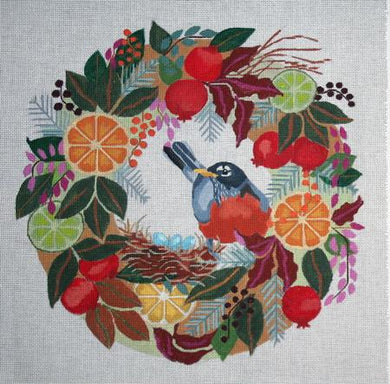Melissa Prince Designs  - B370 - Robin in Wreath with Stitch Guide