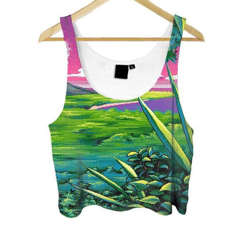 """8-Bit Views Crop Top"