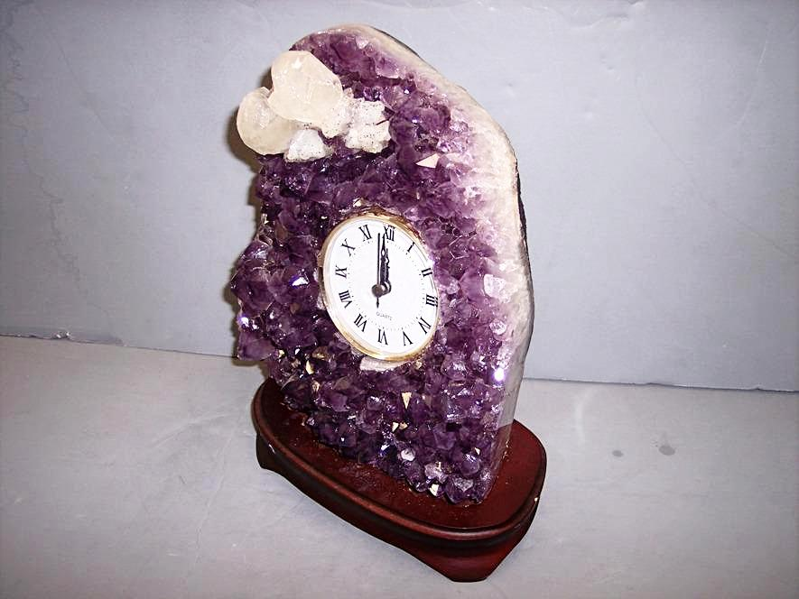 Amethyst Clock in Wood Base