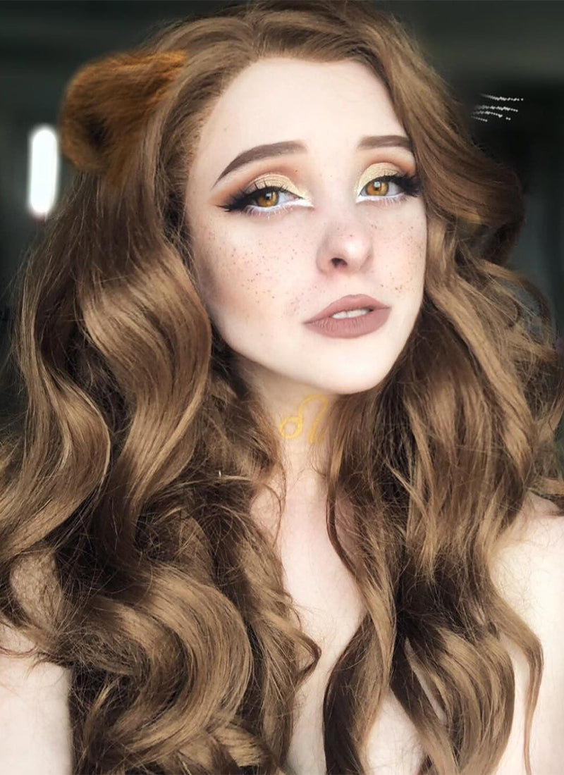 Chestnut Brown Wavy Lace Front Synthetic Wig LF109