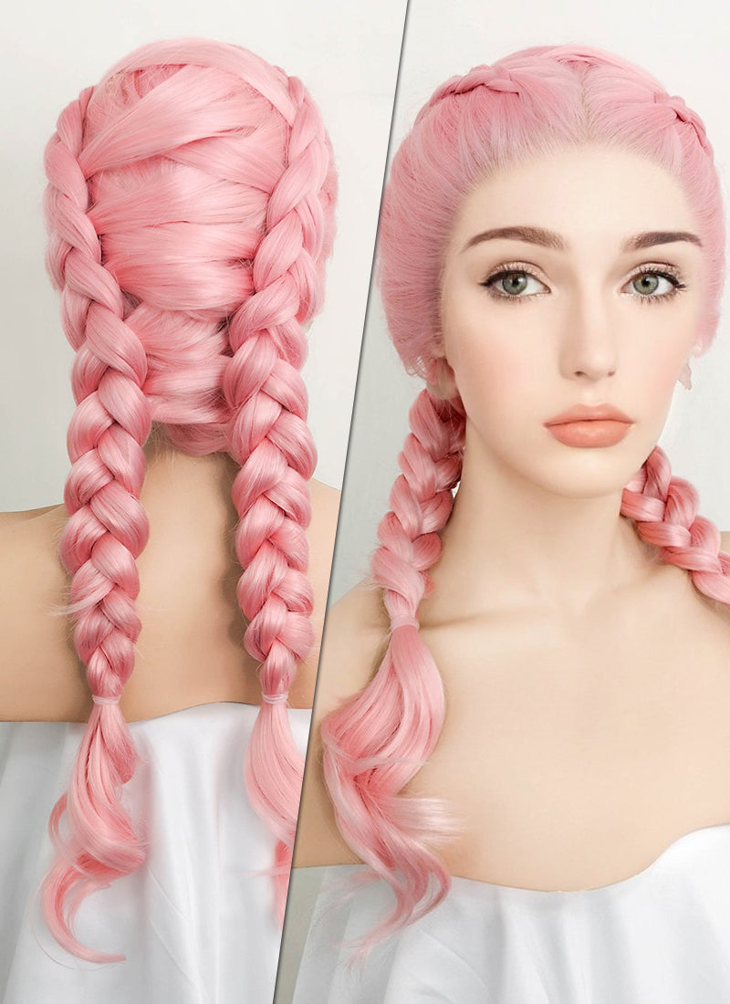 Pink Dutch Braid Lace Front Synthetic Wig LF2010