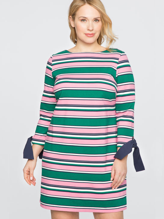 Draper James for ELOQUII Striped Tie Sleeve Dress