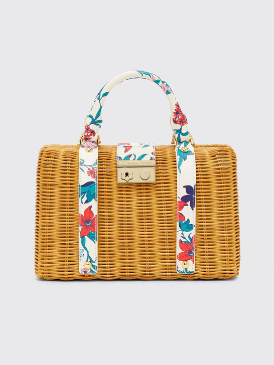Elliston Floral Wicker Bag