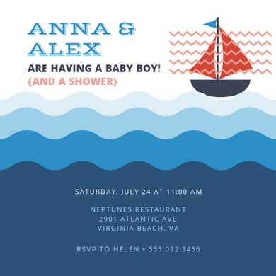 Baby shower Nautical invitations Personalized for any event with your details